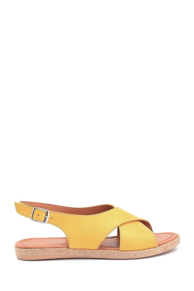 Sarı Kadın Casual Deri Sandalet 5638260032