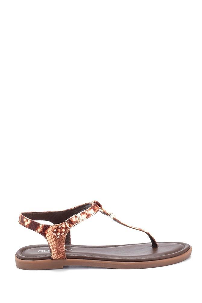 Kahverengi Kadın Casual Deri Sandalet 5638266207