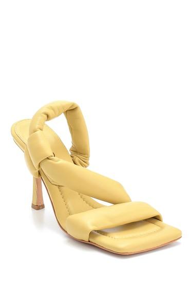 Sarı Kadın Casual Topuklu Deri Sandalet 5638286992