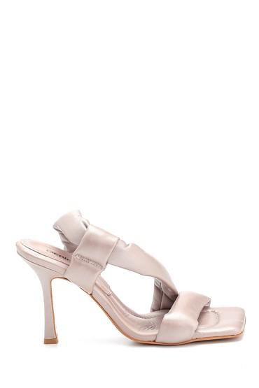 Vizon Kadın Casual Topuklu Deri Sandalet 5638288512