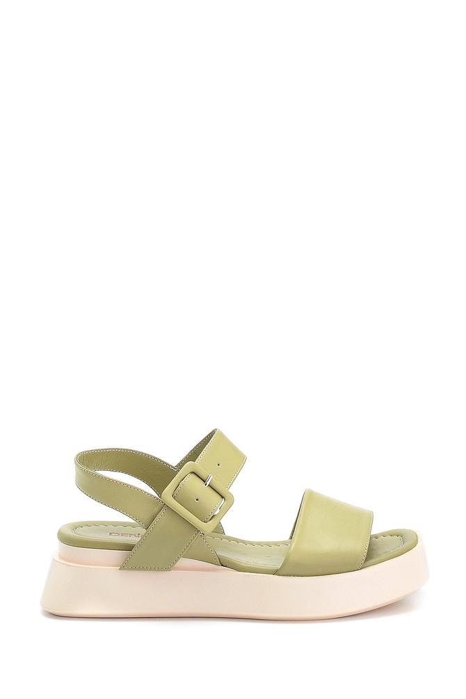 Yeşil Kadın Casual Deri Sandalet 5638312603