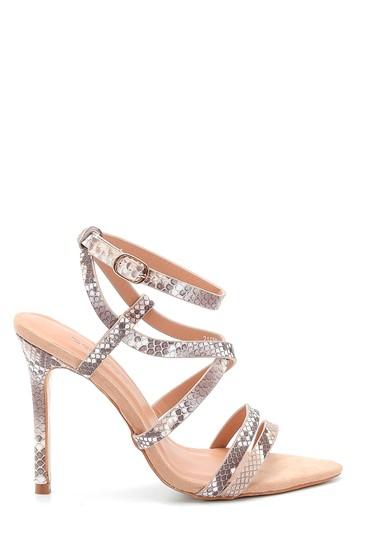 Bej Kadın Yılan Baskılı Topuklu Sandalet 5638263621