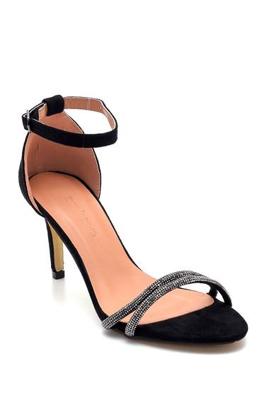 Siyah Kadın Taş Detaylı Topuklu Sandalet 5638263603