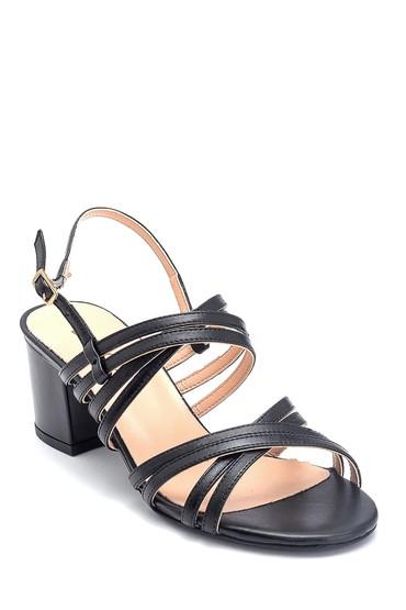 Siyah Kadın Kalın Topuklu Deri Sandalet 5638161918