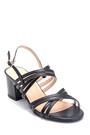5638161918 Kadın Kalın Topuklu Deri Sandalet
