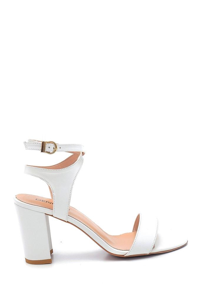 Beyaz Kadın Kalın Topuklu Deri Sandalet 5638162347