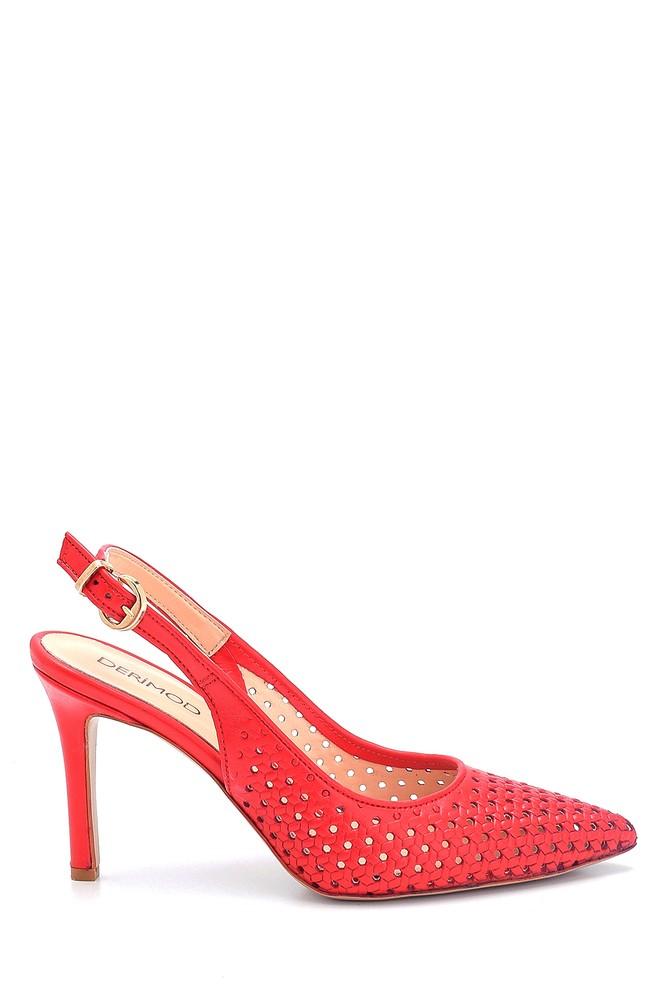 Kırmızı Kadın Deri Stiletto 5638163269