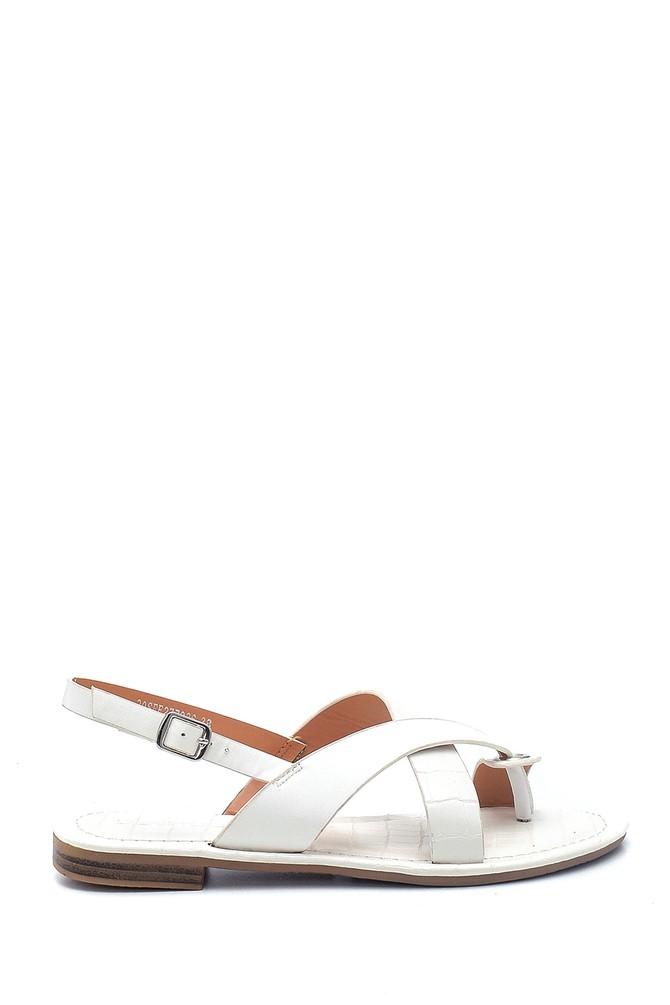 Beyaz Kadın Casual Desenli Sandalet 5638262232