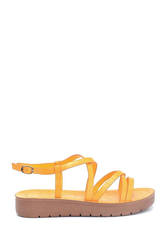 Sarı Kadın Casual Kroko Desenli Sandalet 5638263092