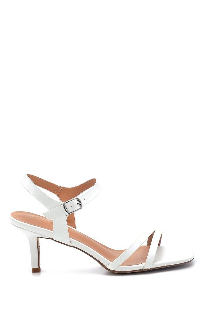 Beyaz Kadın Casual Topuklu Sandalet 5638263556
