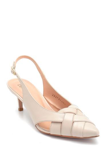Bej Kadın Klasik Topuklu Deri Ayakkabı 5638293672