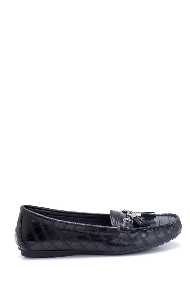 Siyah Kadın Kroko Desenli Püsküllü Loafer 5638312484