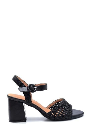 Siyah Kadın Kalın Topuklu Casual Sandalet 5638137665