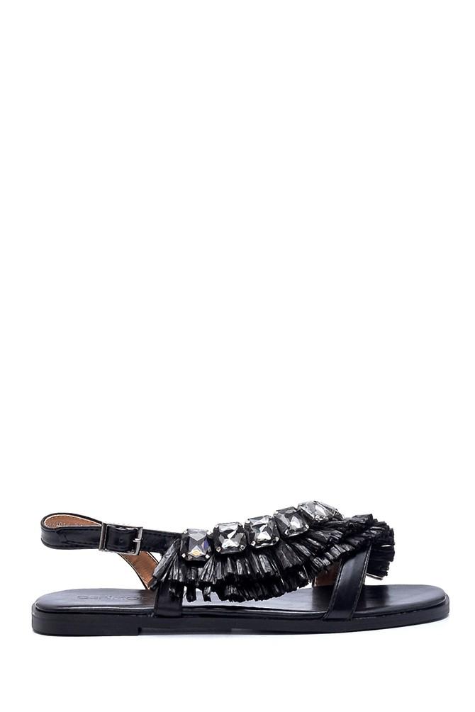 Siyah Kadın Casual Taş Detaylı Sandalet 5638137401