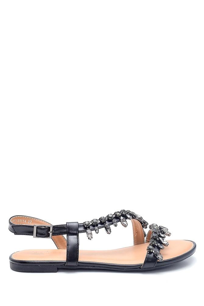 Siyah Kadın Casual Taş Detaylı Sandalet 5638137422