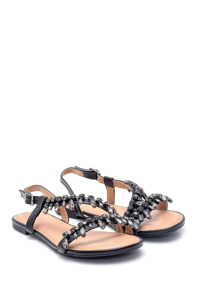 5638137422 Kadın Casual Taş Detaylı Sandalet