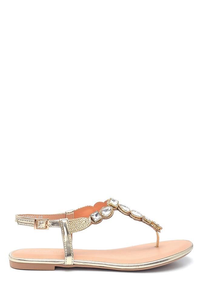 Altın Kadın Casual Taş Detaylı Sandalet 5638137477