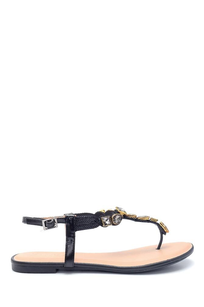 Siyah Kadın Casual Taş Detaylı Sandalet 5638137476