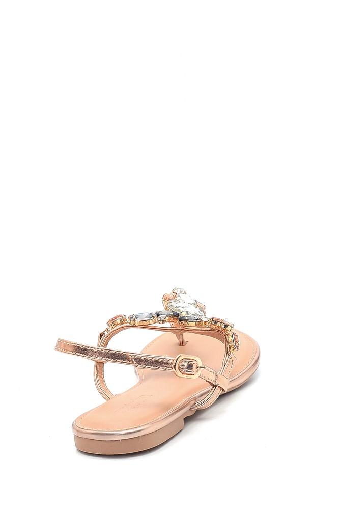 5638137495 Kadın Casual Taş Detaylı Sandalet