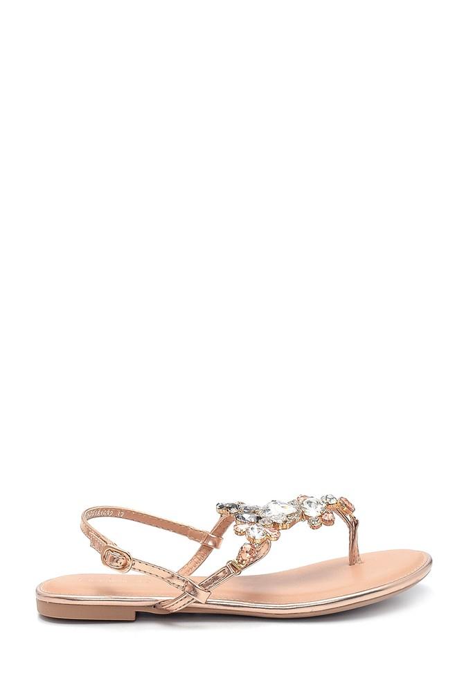 Altın Kadın Casual Taş Detaylı Sandalet 5638137495