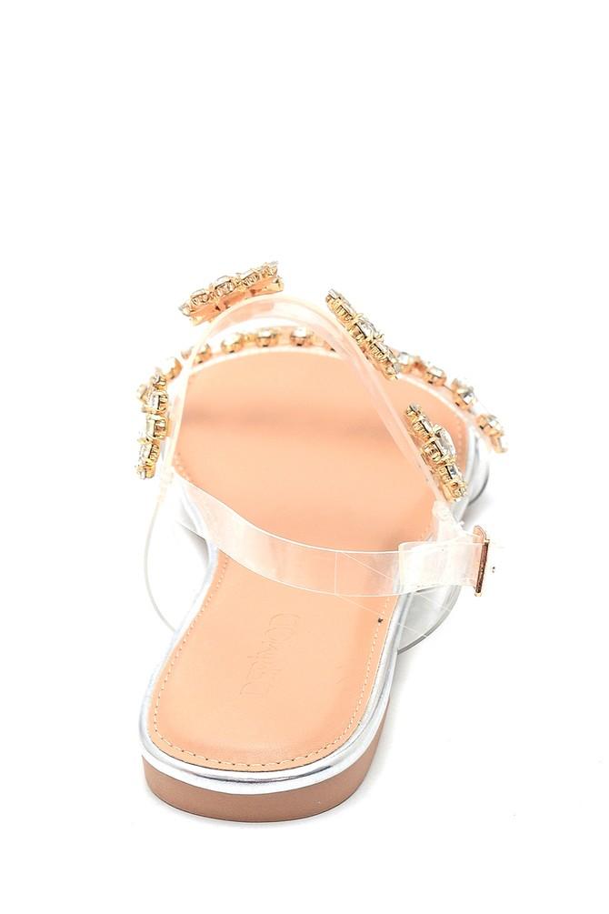 5638137543 Kadın Casual Taş Detaylı Sandalet