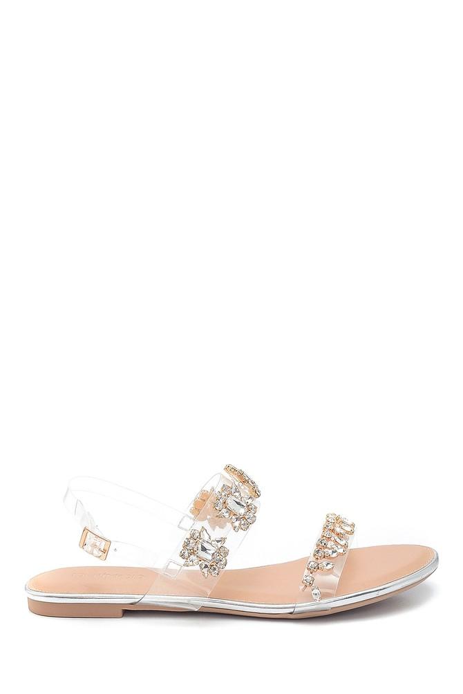 Gümüş Kadın Casual Taş Detaylı Sandalet 5638137543
