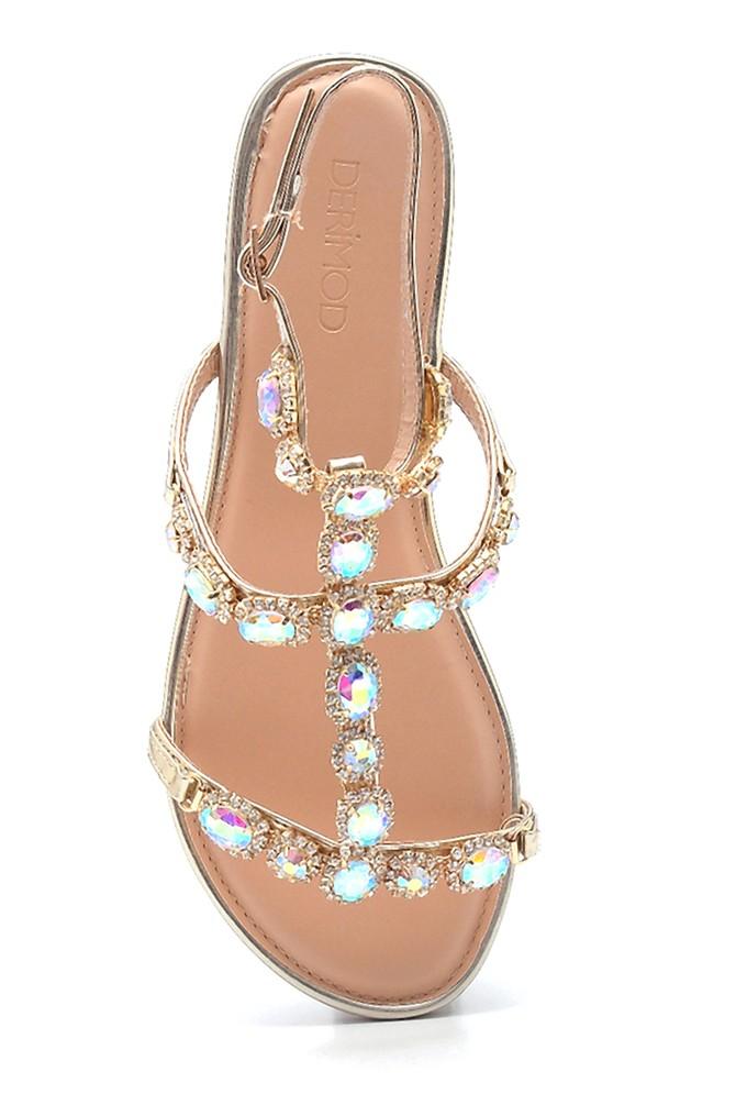 5638137586 Kadın Casual Taş Detaylı Sandalet