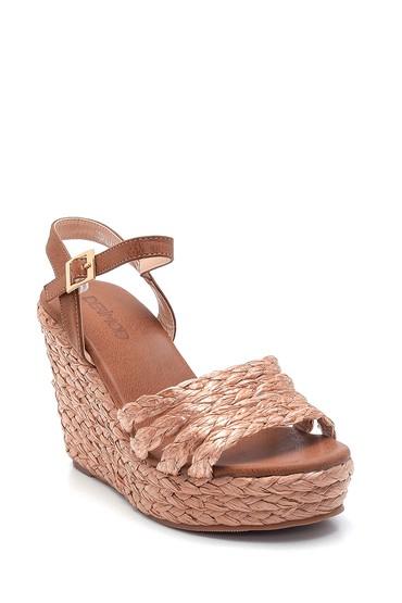 Taba Kadın Dolgu Topuklu Hasır Sandalet 5638137618