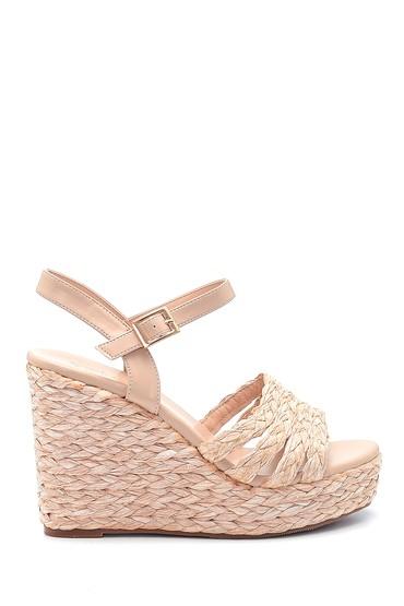 Bej Kadın Dolgu Topuklu Hasır Sandalet 5638137619