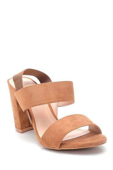 Bej Kadın Kalın Topuklu Casual Sandalet 5638137637