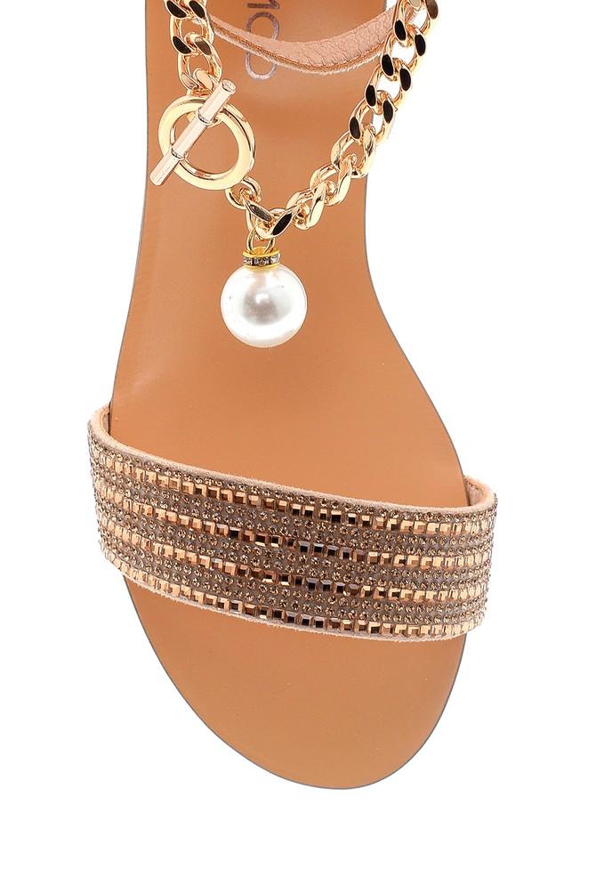 5638255722 Kadın Zincir Detaylı Sandalet