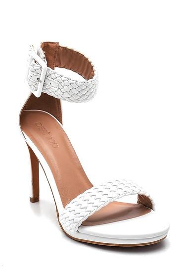 Beyaz Kadın Örgü Detaylı Topuklu Sandalet 5638261161