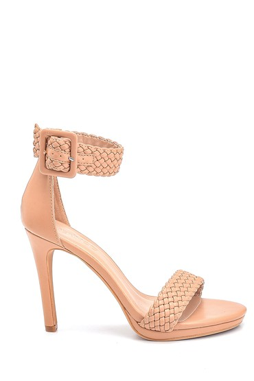 Bej Kadın Örgü Detaylı Topuklu Sandalet 5638261162