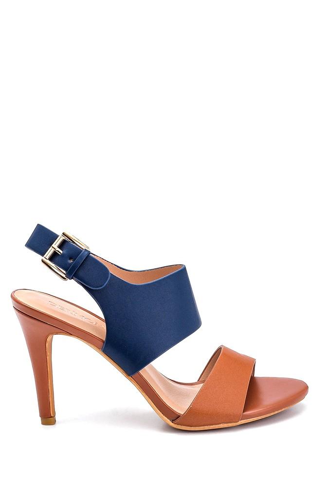 Lacivert Kadın Casual Topuklu Sandalet 5638261208