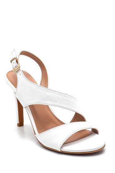 Beyaz Kadın Casual Topuklu Sandalet 5638261238