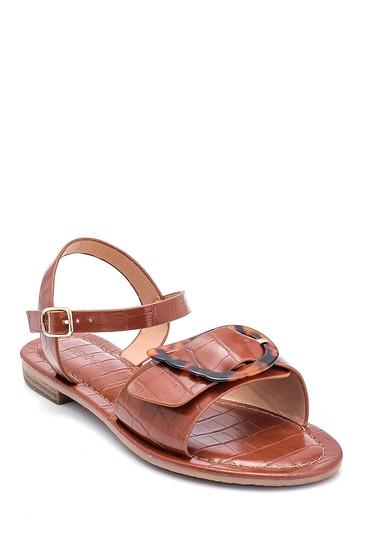 Taba Kadın Kroko Baskılı Casual Sandalet 5638262250