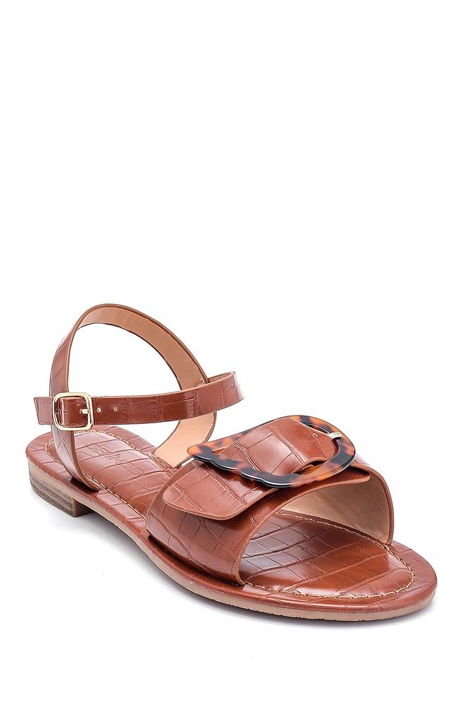 5638262250 Kadın Kroko Baskılı Casual Sandalet