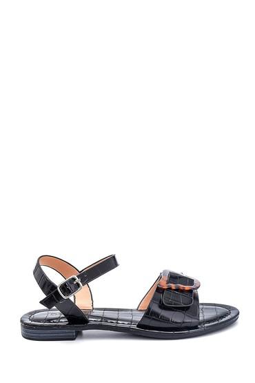 Siyah Kadın Kroko Baskılı Casual Sandalet 5638262251