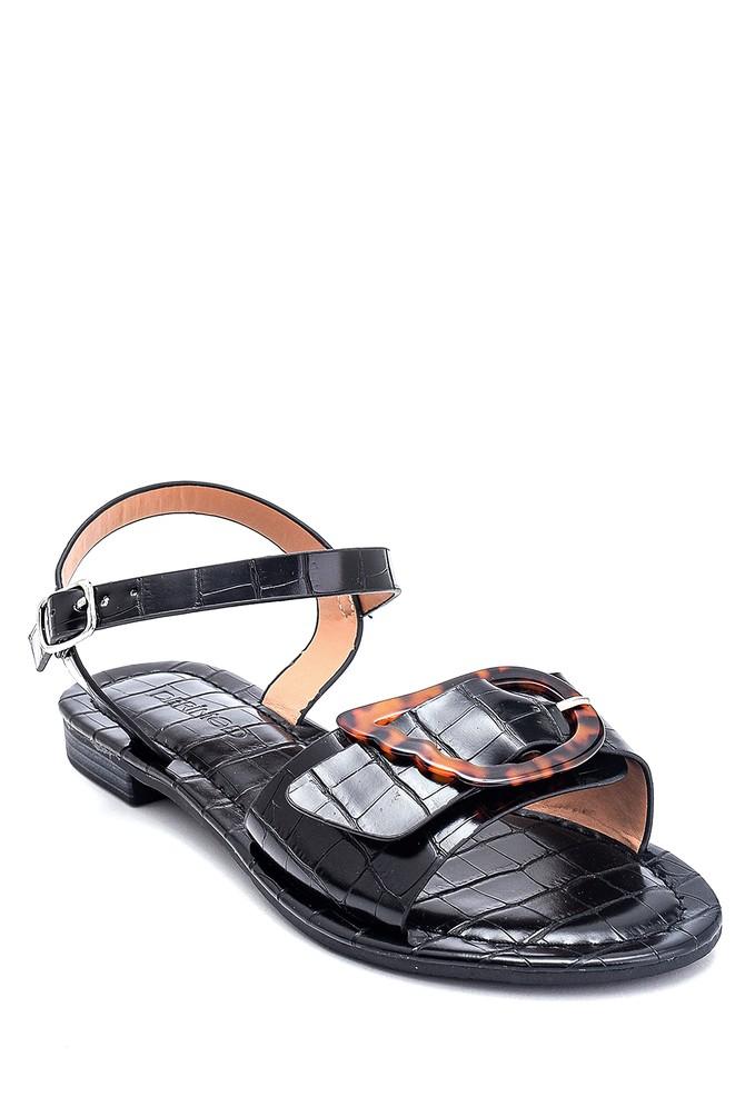 5638262259 Kadın Kroko Baskılı Casual Sandalet