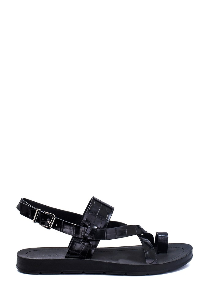 Siyah Kadın Kroko Baskılı Casual Sandalet 5638262291