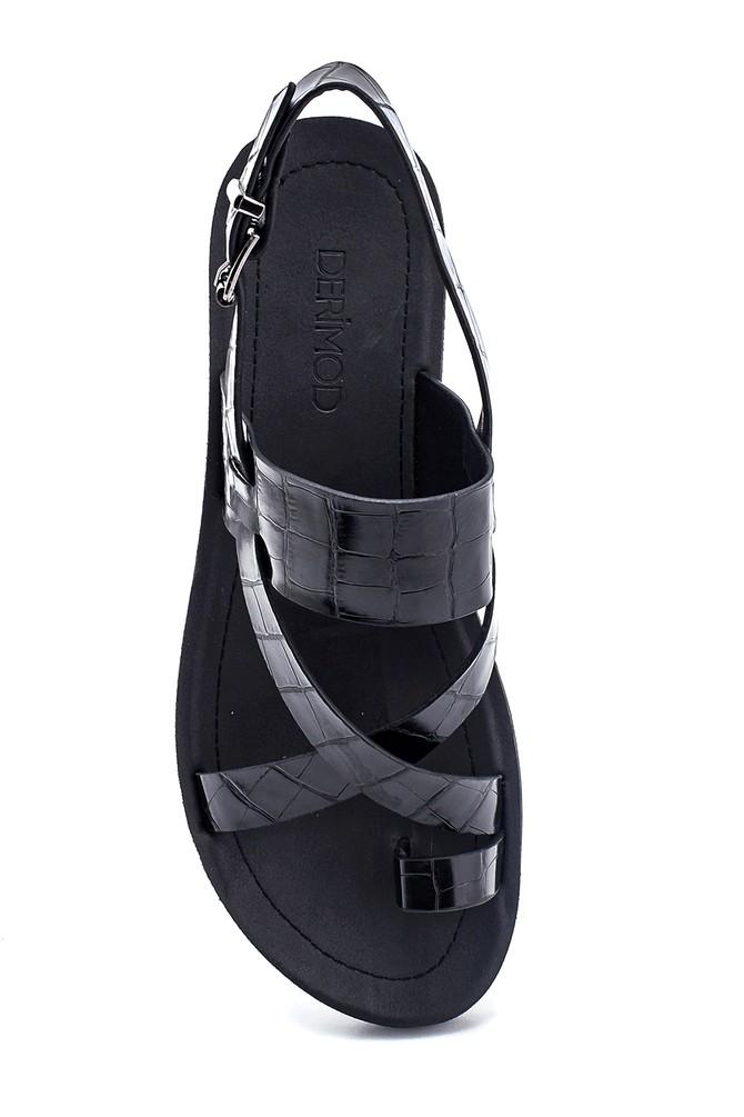 5638262291 Kadın Kroko Baskılı Casual Sandalet