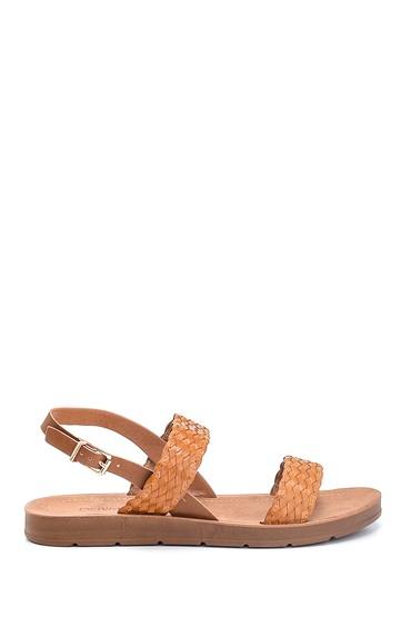 Taba Kadın Örgü Detaylı Casual Sandalet 5638262355
