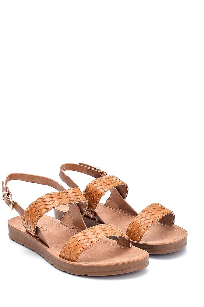 5638262355 Kadın Örgü Detaylı Casual Sandalet