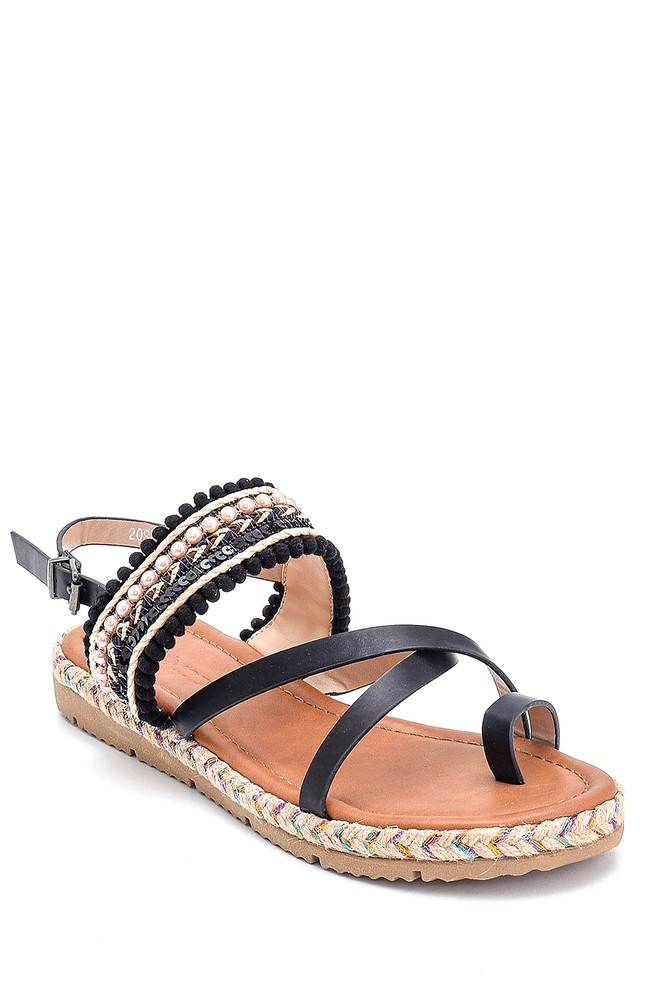 5638262370 Kadın Parmak Arası Detaylı Sandalet