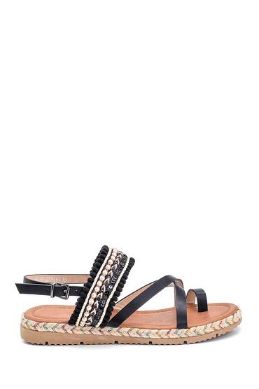 Siyah Kadın Parmak Arası Detaylı Sandalet 5638262370