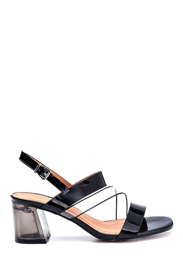 Siyah Kadın Casual Şeffaf Topuklu Sandalet 5638262495