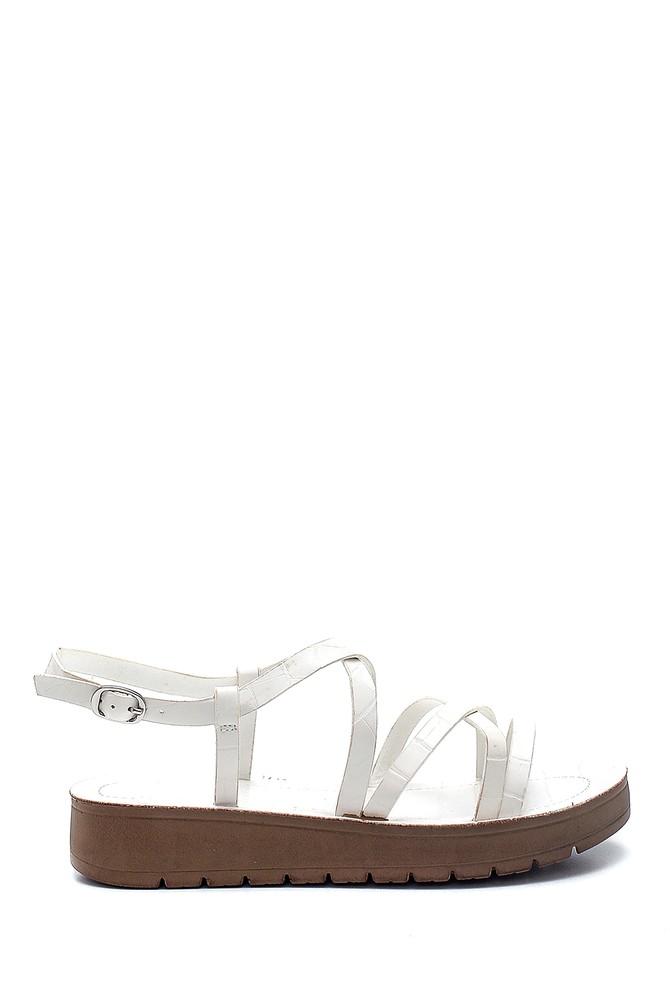 Beyaz Kadın Casual Kroko Desenli Sandalet 5638263088