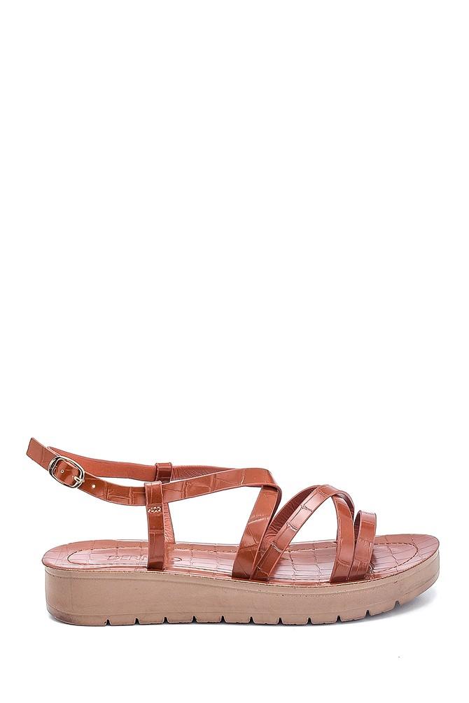 Taba Kadın Casual Kroko Desenli Sandalet 5638263090