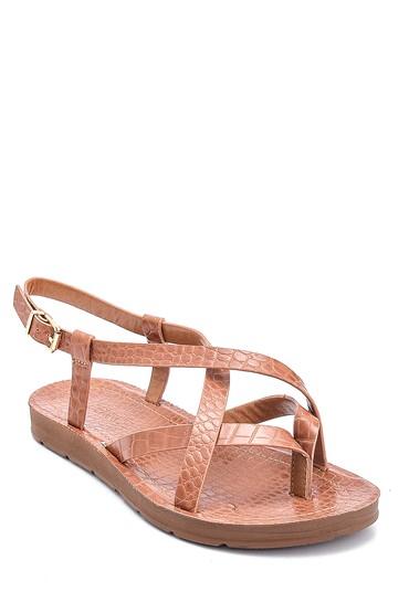 Taba Kadın Kroko Baskılı Casual Sandalet 5638263186