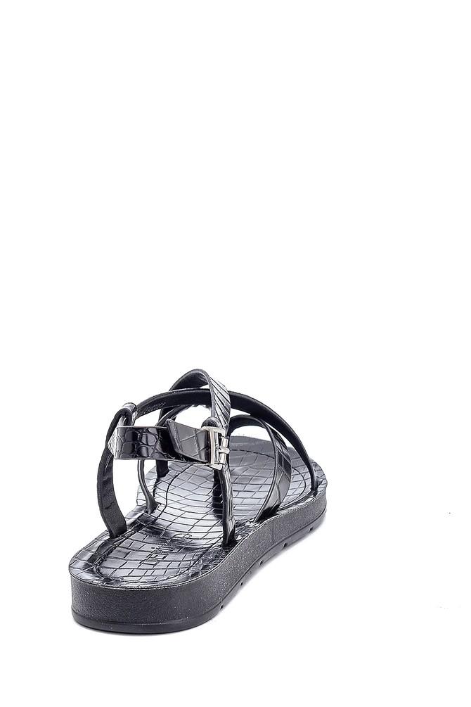 5638263184 Kadın Kroko Baskılı Casual Sandalet